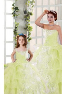 Ruffled Floor Length Light Yellow Quince Ball Gowns Strapless Sleeveless Lace Up