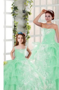 Adorable Apple Green Quinceanera Gowns Military Ball and Sweet 16 and Quinceanera and For with Beading and Ruffled Layers and Ruching Strapless Sleeveless Lace Up