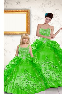 Elegant Floor Length Quinceanera Dress Taffeta Sleeveless Beading and Embroidery and Pick Ups