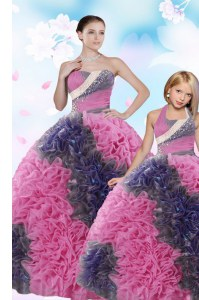 Trendy Sequins Pick Ups Multi-color Sleeveless Taffeta Lace Up Sweet 16 Quinceanera Dress for Military Ball and Sweet 16 and Quinceanera