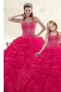 Beauteous Organza Sleeveless Floor Length 15 Quinceanera Dress and Beading and Ruffles
