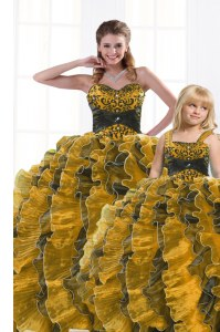 New Arrival Gold Sleeveless Organza Lace Up Sweet 16 Quinceanera Dress for Military Ball and Sweet 16 and Quinceanera