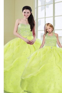 New Style Organza Sleeveless Floor Length Ball Gown Prom Dress and Beading and Sequins