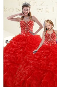 Floor Length Red Ball Gown Prom Dress Sweetheart Sleeveless Lace Up