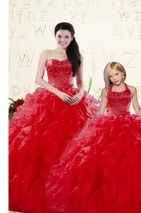 Latest Floor Length Coral Red Quince Ball Gowns Organza Sleeveless Beading and Ruffles