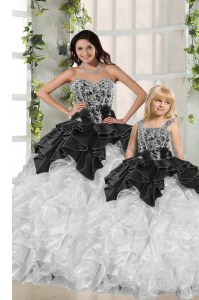 White and Black Sweet 16 Dress Military Ball and Sweet 16 and Quinceanera and For with Beading and Ruffles Sweetheart Sleeveless Lace Up