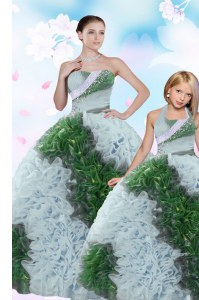 Popular Multi-color Sweetheart Lace Up Sequins and Pick Ups Quince Ball Gowns Sleeveless