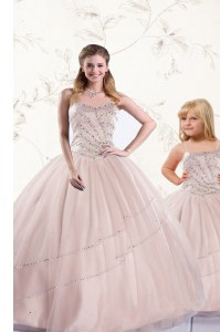 Fine Baby Pink Lace Up Quinceanera Dresses Beading Sleeveless Floor Length