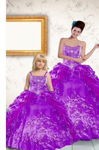 Pick Ups Ball Gowns Ball Gown Prom Dress Purple Strapless Taffeta Sleeveless Floor Length Lace Up