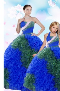 Chic Multi-color Taffeta Lace Up 15 Quinceanera Dress Sleeveless Floor Length Sequins and Pick Ups