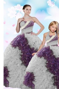Colorful Strapless Sleeveless Fabric With Rolling Flowers Sweet 16 Dresses Beading and Sequins Lace Up