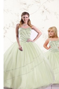 Cute Sleeveless Beading Lace Up Quinceanera Gowns