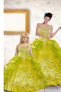 Yellow Taffeta Lace Up Quinceanera Dresses Sleeveless Floor Length Beading and Embroidery and Pick Ups