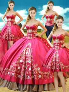 Artistic Four Piece Hot Pink Sleeveless Beading and Embroidery Floor Length 15 Quinceanera Dress