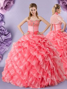 Cute Organza Sweetheart Sleeveless Lace Up Lace 15 Quinceanera Dress in Watermelon Red