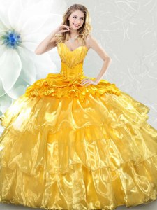 Eye-catching Lace Up Sweet 16 Dress Gold for Military Ball and Sweet 16 and Quinceanera with Ruffled Layers and Sequins