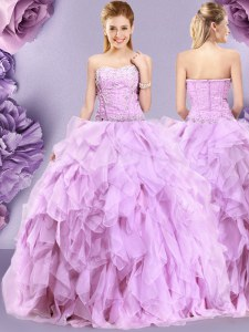 Attractive Lilac Sleeveless Beading and Ruffles Floor Length 15 Quinceanera Dress