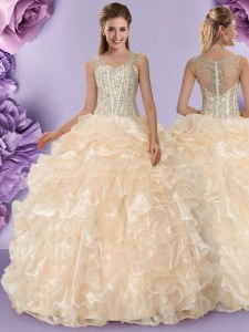 Straps Floor Length Zipper 15 Quinceanera Dress Champagne for Military Ball and Sweet 16 and Quinceanera with Beading and Ruffles