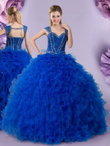New Arrival Straps Royal Blue Lace Up Vestidos de Quinceanera Beading and Ruffles Cap Sleeves Floor Length