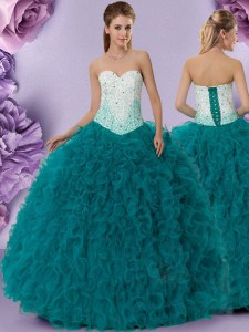 Pretty Teal Sweetheart Lace Up Beading and Ruffles Sweet 16 Dresses Sleeveless
