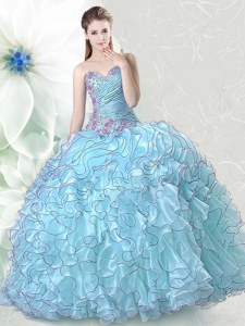 Spectacular Light Blue Sweetheart Lace Up Beading and Ruffles Quinceanera Gown Sleeveless