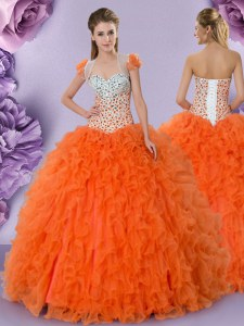 Orange Red Sleeveless Tulle Lace Up 15 Quinceanera Dress for Military Ball and Sweet 16 and Quinceanera