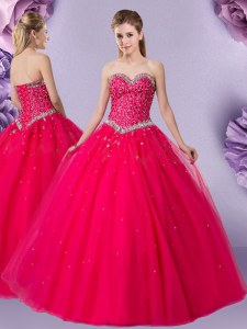 Classical Coral Red Ball Gowns Tulle Sweetheart Sleeveless Beading Floor Length Lace Up Vestidos de Quinceanera