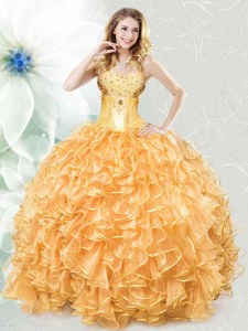 Gold Lace Up Quince Ball Gowns Beading and Ruffles Sleeveless Floor Length