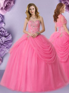 Popular Rose Pink Ball Gowns Beading and Pick Ups Ball Gown Prom Dress Lace Up Tulle Sleeveless Floor Length
