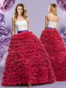 Ruffled Ball Gowns Quinceanera Gown Wine Red Sweetheart Tulle Sleeveless Floor Length Lace Up