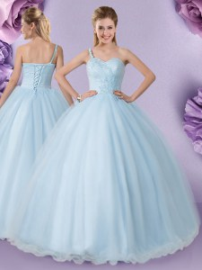 Luxury Tulle One Shoulder Sleeveless Lace Up Appliques 15th Birthday Dress in Light Blue