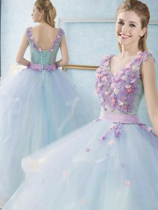 Custom Fit Light Blue Ball Gowns Appliques and Ruffles Quince Ball Gowns Lace Up Tulle Sleeveless Floor Length