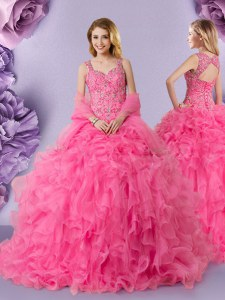 Cute Straps Sleeveless Floor Length Lace Lace Up Quinceanera Gowns with Hot Pink