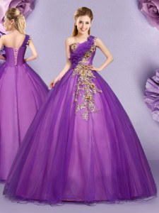 Sumptuous One Shoulder Sleeveless Lace Up Floor Length Appliques and Ruffles Sweet 16 Dress