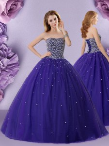 Dramatic Tulle Strapless Sleeveless Lace Up Beading Quince Ball Gowns in Purple