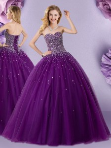 Dynamic Dark Purple Tulle Lace Up Quinceanera Dress Sleeveless Floor Length Beading