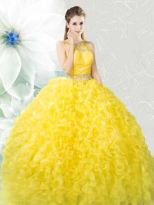 Scoop Beading and Ruffles Quince Ball Gowns Yellow Zipper Sleeveless Floor Length
