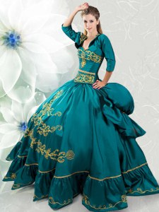 Teal Taffeta Lace Up Sweetheart Sleeveless Floor Length Quinceanera Dresses Beading and Embroidery