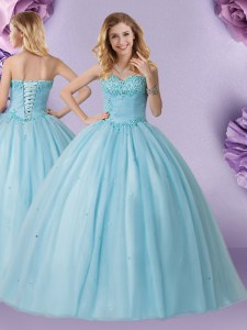 Exquisite Light Blue Lace Up Sweetheart Beading Vestidos de Quinceanera Tulle Sleeveless