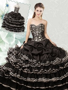Charming Black Ball Gowns Sweetheart Sleeveless Organza Floor Length Lace Up Beading and Ruffled Layers and Pick Ups Quinceanera Dresses