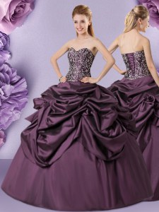 Top Selling Purple Lace Up Sweetheart Embroidery and Pick Ups Quinceanera Dresses Taffeta Sleeveless
