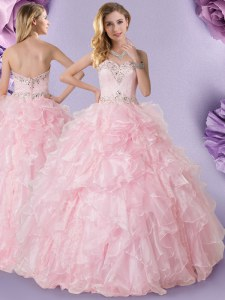 Fantastic Baby Pink Sleeveless Beading and Ruffles Floor Length Sweet 16 Dresses
