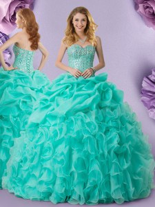 Turquoise Ball Gowns Organza Sweetheart Sleeveless Beading and Ruffles and Pick Ups Floor Length Lace Up Sweet 16 Quinceanera Dress