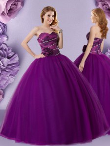 Sleeveless Zipper Floor Length Hand Made Flower Sweet 16 Dresses