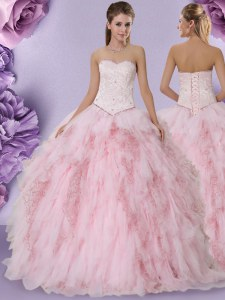 Tulle Sweetheart Sleeveless Lace Up Beading and Lace and Ruffles Quinceanera Gowns in Baby Pink