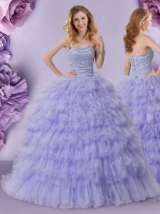 Lavender Strapless Lace Up Beading and Ruffled Layers Quince Ball Gowns Sleeveless
