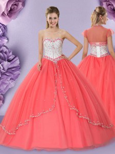 Watermelon Red Ball Gowns Tulle Sweetheart Sleeveless Beading Floor Length Lace Up Sweet 16 Quinceanera Dress