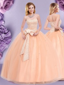 Admirable Floor Length Zipper Quinceanera Gowns Peach for Military Ball and Sweet 16 and Quinceanera with Beading and Bowknot