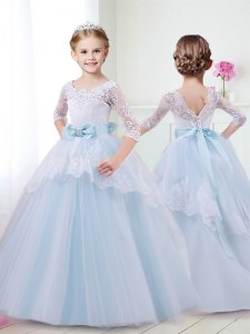 Nice Scoop With Train Ball Gowns Half Sleeves Light Blue Flower Girl Dress Brush Train Lace Up