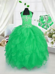 Trendy Halter Top Floor Length Lace Up Kids Formal Wear Apple Green for Party and Wedding Party with Appliques and Ruffles